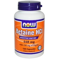 Now Foods Betaine HCl 120 VCaps 648mg - Dietary Supplement