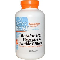 Doctor's Best Betaine HCI Pepsin & Gentian Bitters 360 Capsules