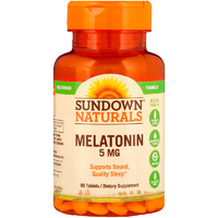 Sundown Naturals, Melatonin, 5 mg, 90 Tablets