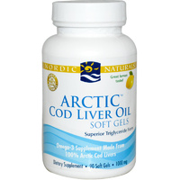 Nordic Naturals, Arctic Cod Liver Oil, Lemon, 1000mg, 90 Soft Gels