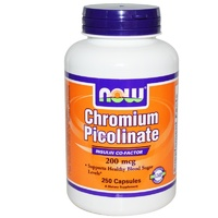 Now Foods Chromium Picolinate 250 Capsules 200mcg - Dietary Supplement