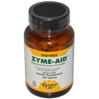 Country Life, Zyme Aid, Gluten Free, Digestive Enzyme Complex, 100 Tablets
