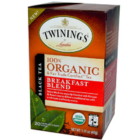 Twinings, 100% Organic Black Tea, Breakfast Blend, 20 Tea Bags, 40g