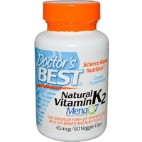 Doctor's Best, Natural Vitamin K2, Mena Q7, 45mcg, 60 VCaps