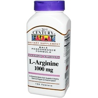 21st Century Health Care L-ArgininecMaximum Strength 1000mg 100 Tablets - Dietary Supplement