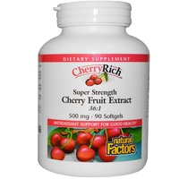 Natural Factors CherryRich Super Strength Cherry Fruit Extract 500 mg 90 Softgels