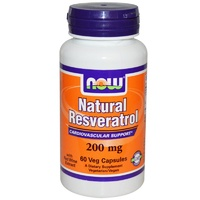 Now Foods Natural Resveratrol 200 mg 60 Veggie Capsules