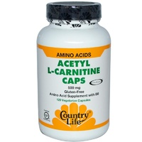 Country Life, Gluten Free, Acetyl L-Carnitine Caps, 500 mg, 120 Veggie Capsules