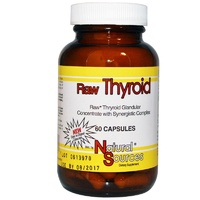Natural Sources  Raw Thyroid Glandular  60 Capsules - Dietary Supplement