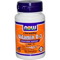 Now Foods, Chewable, Vitamin D-3, Natural Fruit Flavor, 1,000 IU, 180 Chewables