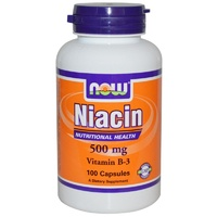 Now Foods Niacin Vitamin B3  500mg 100 Cap - Dietary Supplement