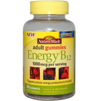 Nature Made Adult Gummies Energy B12 Cherry & Wild Berries 80 Gummies