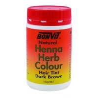 BonVit, Natural Henna Herb Colour, Hair Tint, Dark Brown, 100 g