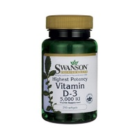 3 x Swanson Premium Highest Potency Vitamin D-3 5000 IU 250 Softgels