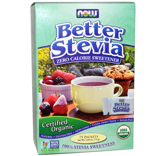 Now Foods, Organic, Better Stevia, Zero Calorie Sweetener, 75 Packets, 75 g