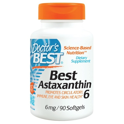Doctor's Best  Best Astaxanthin 6, 6mg, 90 Softgels - Dietary Supplement