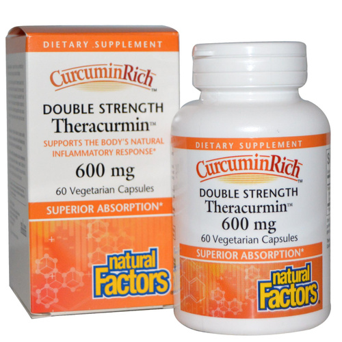 Natural Factors, CurcuminRich, Double Strength, Theracurmin, 600 mg, 60 VCaps  - Dietary Supplement