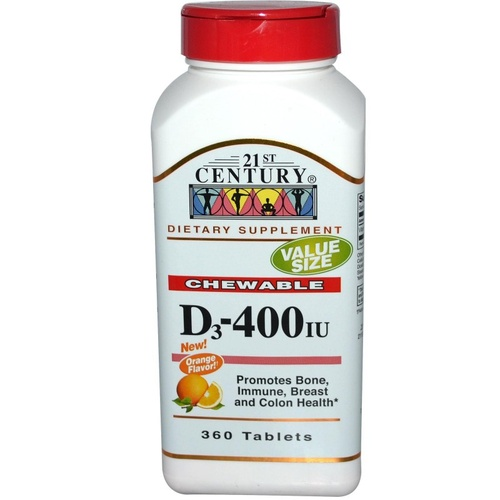 21st Century Health Care, Chewable D3, Orange Flavor, 400 IU, 360 Tablets