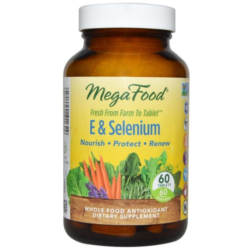MegaFood E & Selenium 60 Tablets - Dietary Supplement