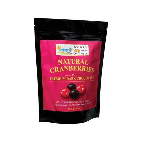 Noosa Natural Chocolate Co., Natural Cranberries in Dark Chocolate, 300 g